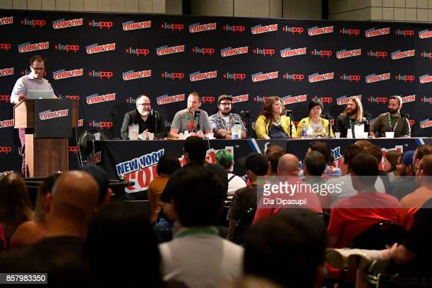 Nick Lowe Gerry Duggan Ed Brisson Matthew Rosenberg Rainbow Rowell Erica Henderson Mark Basso and Javier Garron speak during 'Marvel Legacy Next Big...