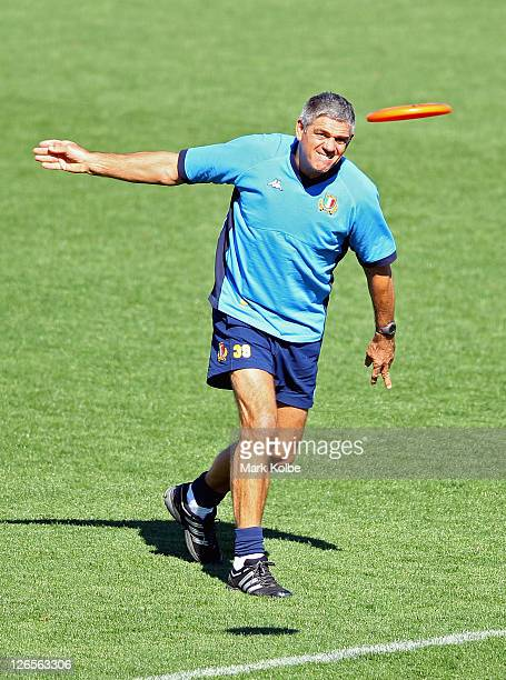 Nick Mallett coach of Italy throws a frisbee during an Italy IRB Rugby World Cup 2011 captain's run at Trafalgar Park on September 26 2011 in Nelson...