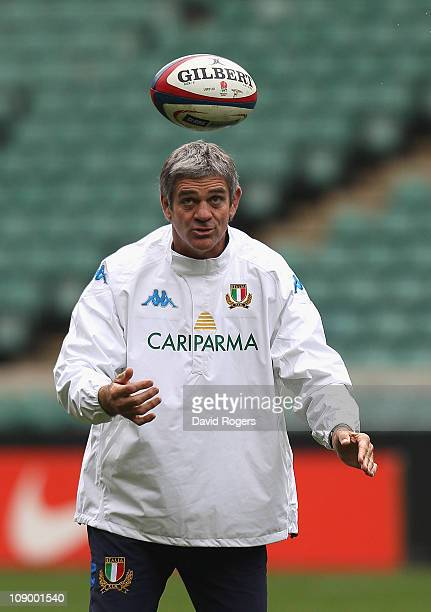Nick Mallett the Italy head coach catches the ball during the Italy training session held at Twickenham Stadium on February 11 2011 in Twickenham...