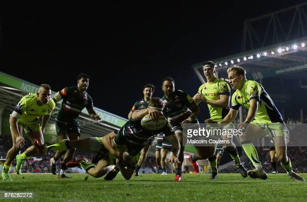 Nick Malouf of Leicester Tigers scores a try during the Aviva Premiership match between Leicester Tigers and Sale Sharks at Welford Road on November...