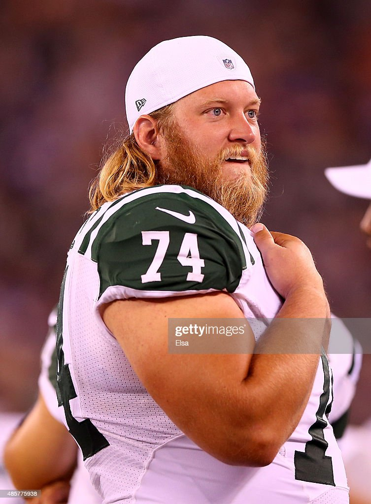 Nick Mangold #74 of the New York Jets looks on in the fourth quarter against the New York Giants during preseason action at MetLife Stadium on August 29, 2015 in East Rutherford, New Jersey.