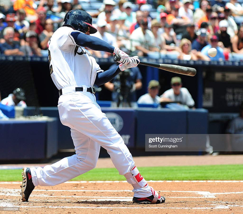 <a gi-track='captionPersonalityLinkClicked' href=/galleries/search?phrase=Nick+Markakis&family=editorial&specificpeople=614708 ng-click='$event.stopPropagation()'>Nick Markakis</a> #22 of the Atlanta Braves hits a third inning double against the San Francisco Giants at Turner Field on May 30, 2016 in Atlanta, Georgia.