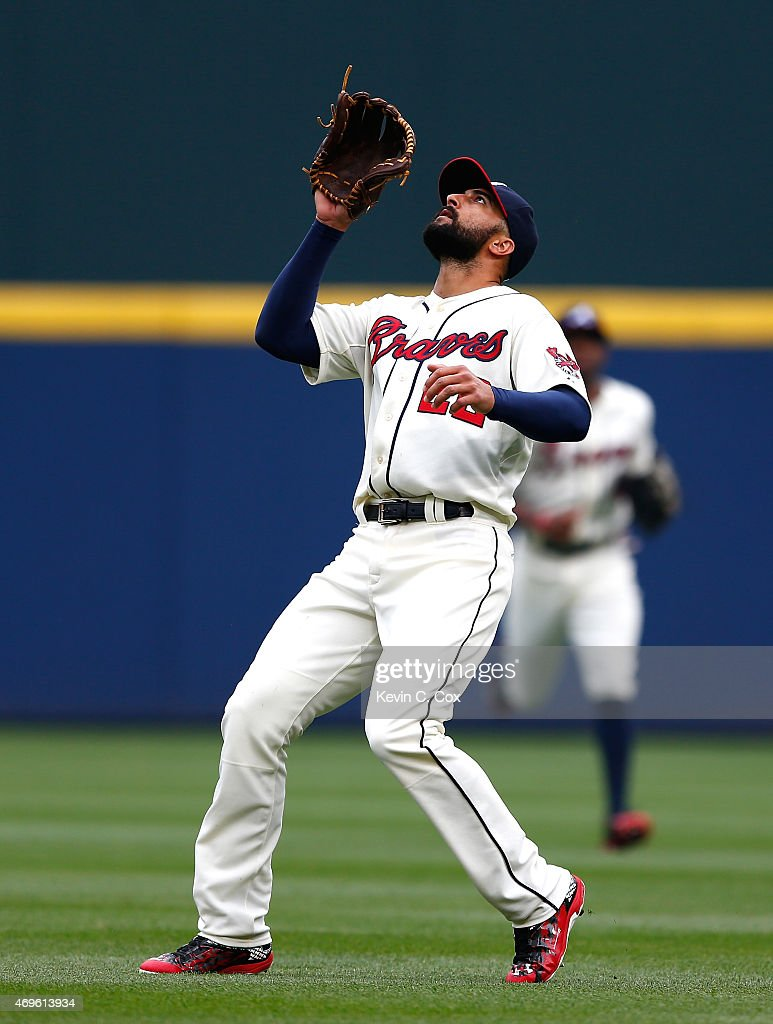 Nick Markakis of the Atlanta Braves in action against the New York Mets during the Braves opening series at Turner Field on April 12 2015 in Atlanta...