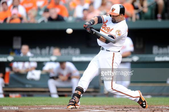 Nick Markakis of the Baltimore Orioles bats against the Texas Rangers at Oriole Park at Camden Yards on July 1 2014 in Baltimore Maryland