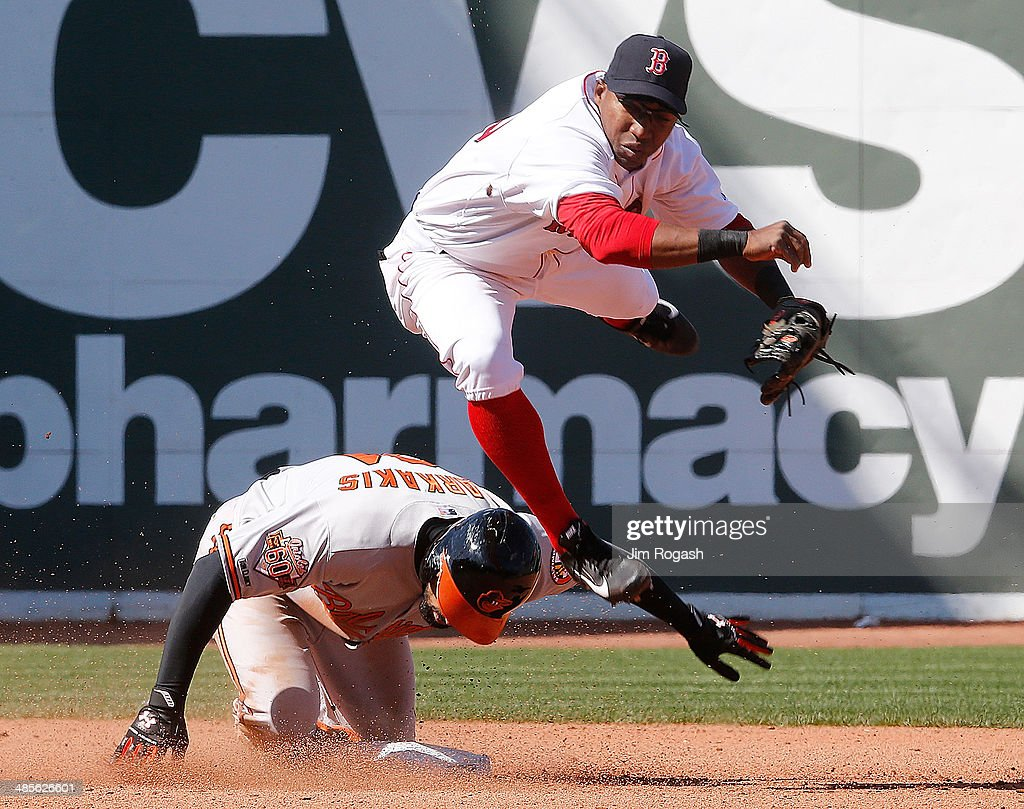 <a gi-track='captionPersonalityLinkClicked' href=/galleries/search?phrase=Nick+Markakis&family=editorial&specificpeople=614708 ng-click='$event.stopPropagation()'>Nick Markakis</a> #21 of the Baltimore Orioles beaks up double play as <a gi-track='captionPersonalityLinkClicked' href=/galleries/search?phrase=Jonathan+Herrera&family=editorial&specificpeople=4175178 ng-click='$event.stopPropagation()'>Jonathan Herrera</a> #10 of the Boston Red Sox makes a late throw to first base in the sixth inning at Fenway Park on April 19, 2014 in Boston, Massachusetts.