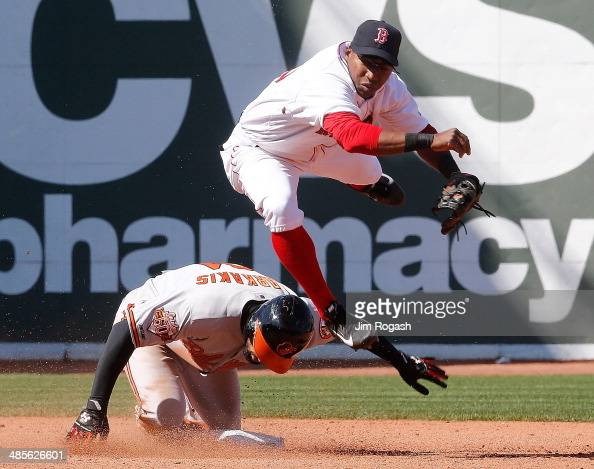 Nick Markakis of the Baltimore Orioles beaks up double play as Jonathan Herrera of the Boston Red Sox makes a late throw to first base in the sixth...