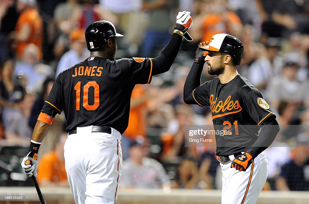 <a gi-track='captionPersonalityLinkClicked' href=/galleries/search?phrase=Nick+Markakis&family=editorial&specificpeople=614708 ng-click='$event.stopPropagation()'>Nick Markakis</a> #21 of the Baltimore Orioles celebrates with Adam Jones #10 after hitting a home run in the ninth inning against the Detroit Tigers at Oriole Park at Camden Yards on May 31, 2013 in Baltimore, Maryland. Baltimore won the game 7-5.