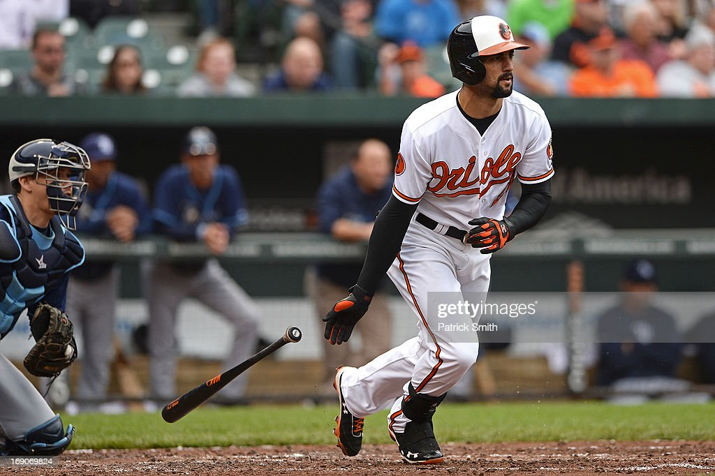 <a gi-track='captionPersonalityLinkClicked' href=/galleries/search?phrase=Nick+Markakis&family=editorial&specificpeople=614708 ng-click='$event.stopPropagation()'>Nick Markakis</a> #21 of the Baltimore Orioles grounds out in the third inning against the Tampa Bay Rays at Oriole Park at Camden Yards on May 19, 2013 in Baltimore, Maryland. The Tampa Bay Rays won, 3-1.