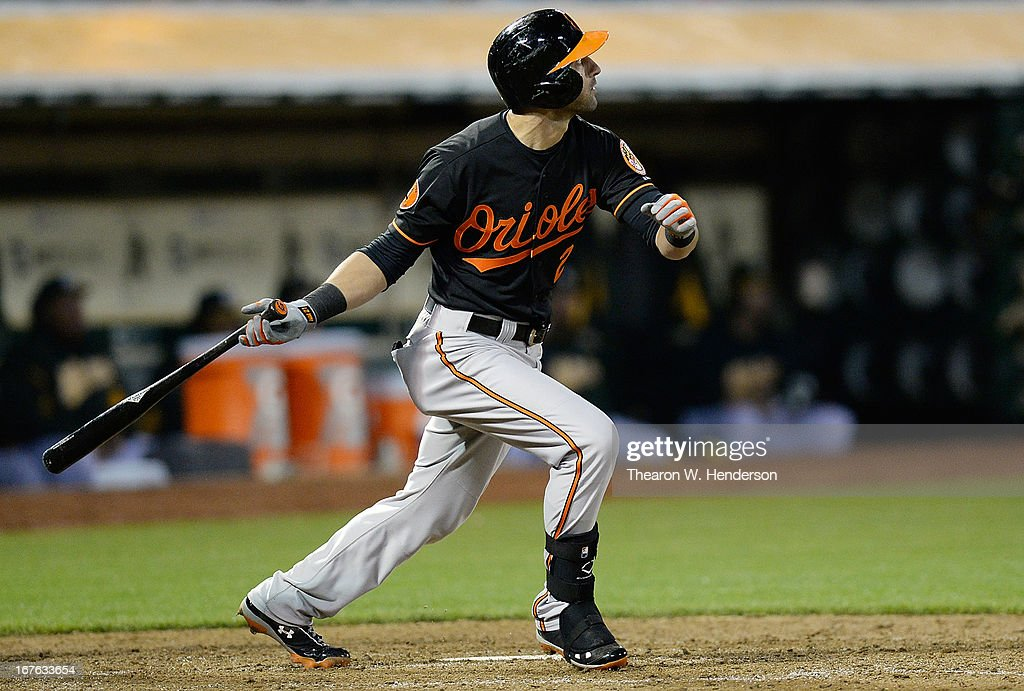<a gi-track='captionPersonalityLinkClicked' href=/galleries/search?phrase=Nick+Markakis&family=editorial&specificpeople=614708 ng-click='$event.stopPropagation()'>Nick Markakis</a> #21 of the Baltimore Orioles hits a sacrifice fly, scoring Chris Dickerson (not pictured) against the Oakland Athletics in the ninth inning at O.co Coliseum on April 26, 2013 in Oakland, California. The Orioles won the game 3-0.