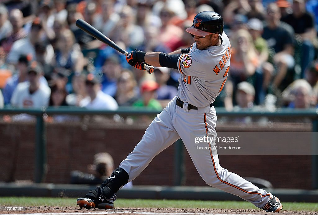 <a gi-track='captionPersonalityLinkClicked' href=/galleries/search?phrase=Nick+Markakis&family=editorial&specificpeople=614708 ng-click='$event.stopPropagation()'>Nick Markakis</a> #21 of the Baltimore Orioles hits an RBI single scoring Nate McLouth #9 in the eighth inning against the San Francisco Giants at AT&T Park on August 11, 2013 in San Francisco, California. The Orioles won the game 10-2.