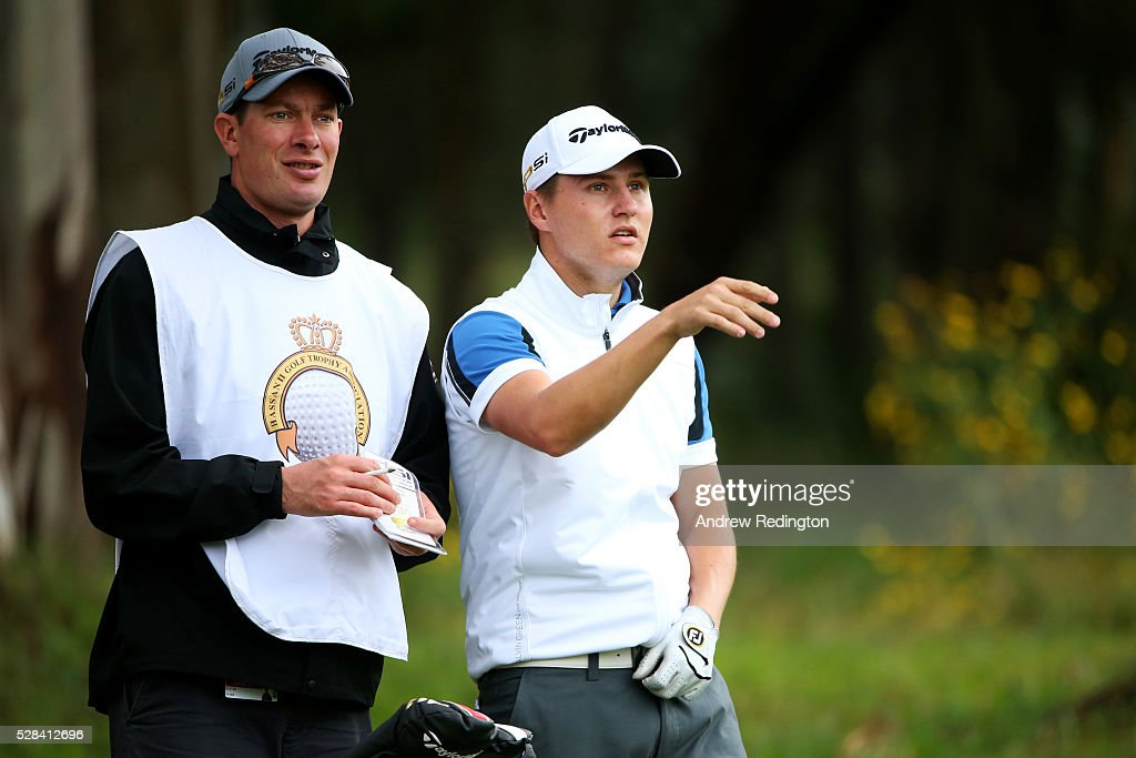 Nick Marsh of England speaks with his caddie on the 1st during the first round of the Trophee Hassan II at Royal Golf Dar Es Salam on May 5, 2016 in Rabat, Morocco.