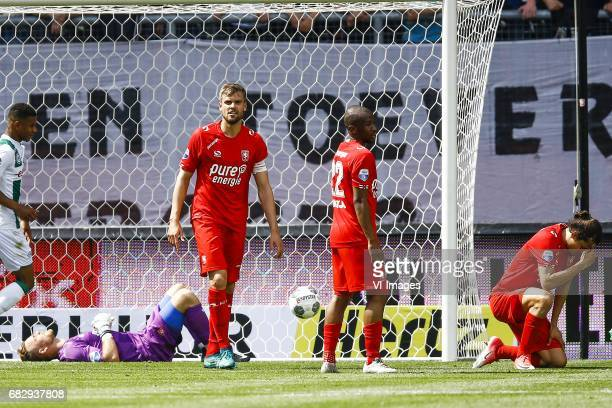 Nick Marsman of FC Twente Stefan Thesker of FC Twente scored own goal Kamohelo Mokotjo of FC Twente Enes Unal of FC Twenteduring the Dutch Eredivisie...