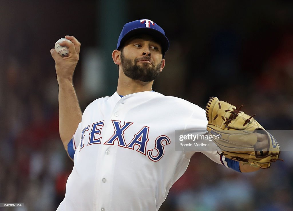 Nick Martinez #22 of the Texas Rangers throws against the Boston Red Sox at Globe Life Park in Arlington on June 24, 2016 in Arlington, Texas.