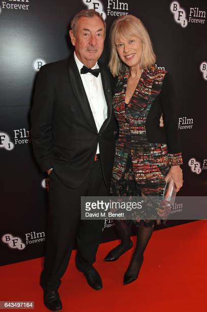 Nick Mason and Nettie Mason attend the annual BFI Chairman's Dinner honouring Peter Morgan with the BFI Fellowship at Claridge's Hotel on February 21...