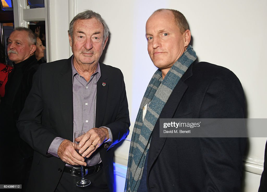 Nick Mason (L) and Woody Harrelson attend Claridge's Christmas Tree 2016 Party, with tree designed by Sir Jony Ive and Marc Newson, at Claridge's Hotel on November 19, 2016 in London, England.