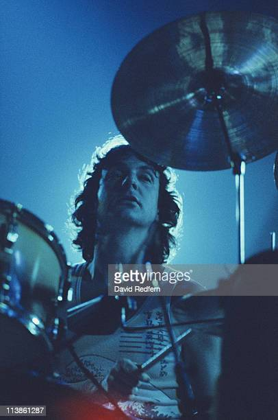 Nick Mason drummer with Pink Floyd playing the drums during a live concert performance by the band at New Bingley Hall in Stafford England Great...