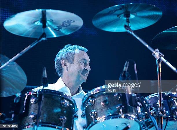 Nick Mason from the band Pink Floyd performs on stage at 'Live 8 London' in Hyde Park on July 2 2005 in London England The free concert is one of ten...
