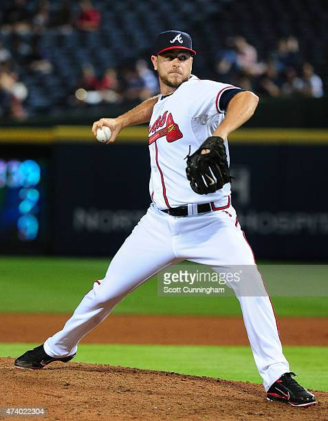 Nick Masset of the Atlanta Braves throws a seventh inning pitch against the Tampa Bay Rays at Turner Field on May 19 2015 in Atlanta Georgia