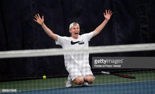 Nick Mathieu of Mt Ararat celebrates after winning the high school tennis singles state championships Monday May 29 2017