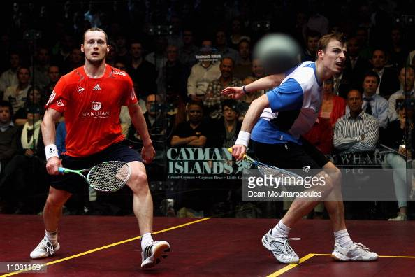 Nick Matthew of England and Gregory Gaultier of France in action in their Semi Final at the ISS Canary Wharf Squash Classic at East Winter Gardens on...