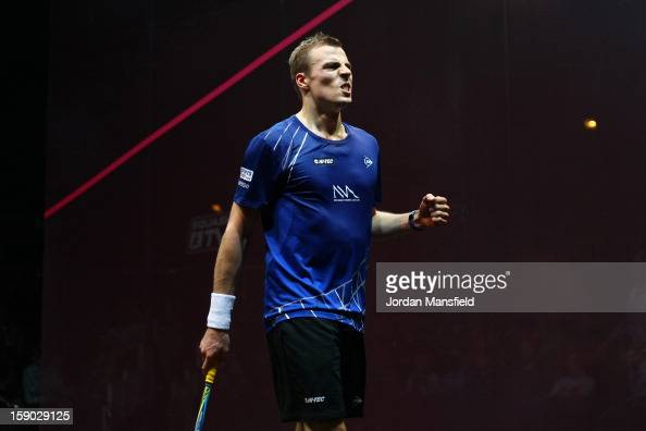 Nick Matthew of England celebrates after defeating Gregory Gaultier of France in the semifinal of the ATCO World Series Finals played at Queens Club...