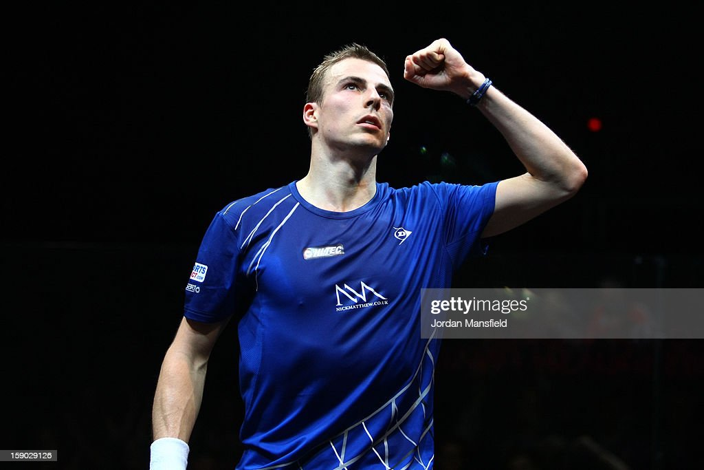 Nick Matthew of England celebrates after defeating Gregory Gaultier of France in the semi-final of the ATCO World Series Finals played at Queens Club on January 5, 2013 in London, England.