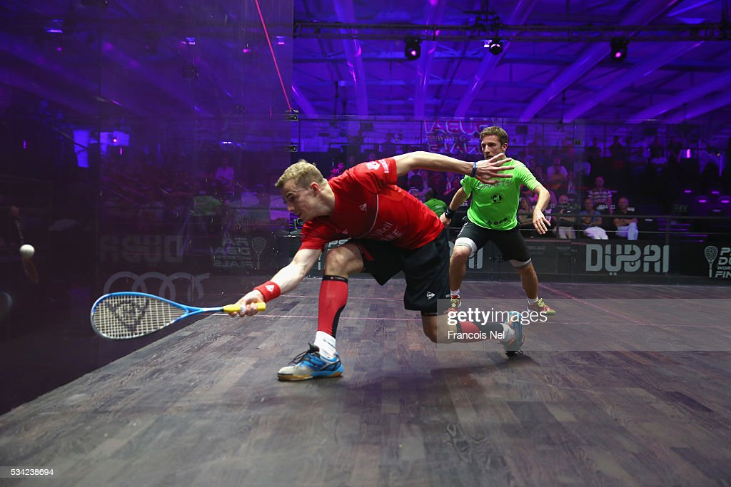 Nick Matthew of England competes against Mathieu Castagnet of France during day two of the PSA Dubai World Series Finals 2016 at Burj Park on May 25, 2016 in Dubai, United Arab Emirates.