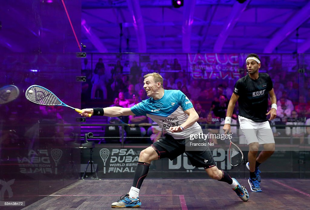 <a gi-track='captionPersonalityLinkClicked' href=/galleries/search?phrase=Nick+Matthew&family=editorial&specificpeople=799585 ng-click='$event.stopPropagation()'>Nick Matthew</a> of England competes against Mohamed Elshorbagy of Egypt during day three of the PSA Dubai World Series Finals 2016 at Burj Park on May 26, 2016 in Dubai, United Arab Emirates.