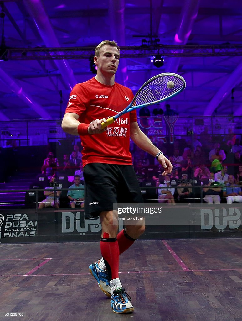 Nick Matthew of England in action against Mathieu Castagnet of France during day two of the PSA Dubai World Series Finals 2016 at Burj Park on May 25, 2016 in Dubai, United Arab Emirates.