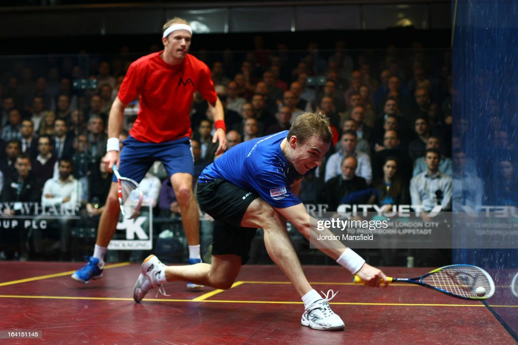 Nick Matthew of England in action against Stephen Coppinger of South-Africa during their quarter-final match a in the Canary Wharf Squash Classic on March 20, 2013 in London, England.