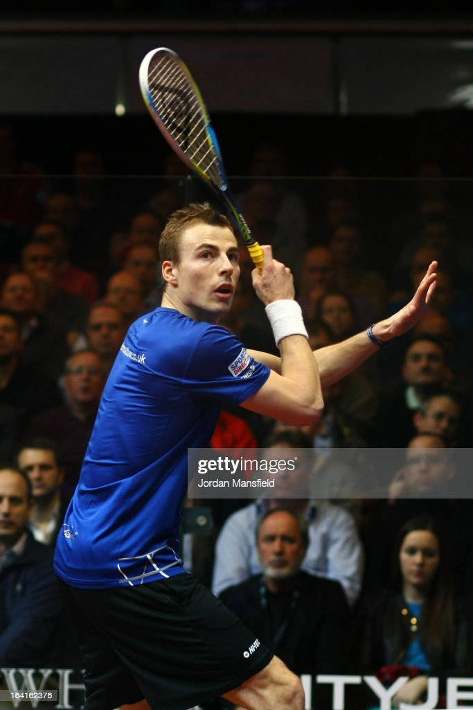 Nick Matthew of England in action against Stephen Coppinger of South Africa during their quarter-final match at the Canary Wharf Squash Classic on March 20, 2013 in London, England.