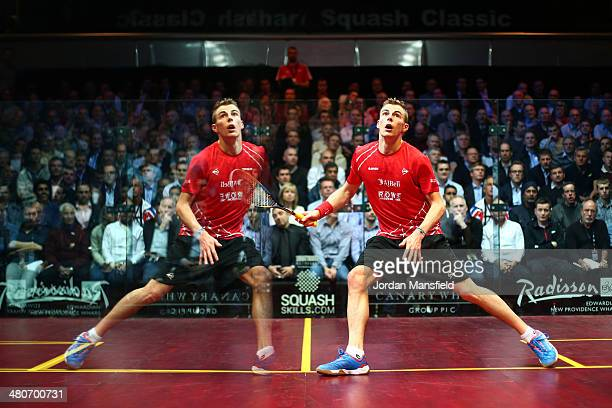 Nick Matthew of England is reflected in the glass of the court during his quaterfinal match against Omar Mosaad of Egypt in the Canary Wharf Squash...