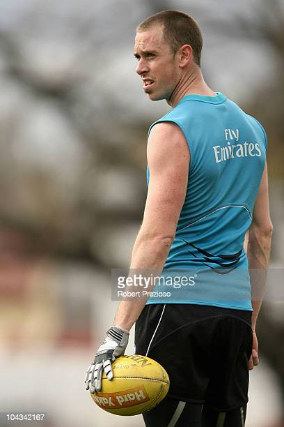 Nick maxwell holds the ball during a Collingwood Magpies AFL training session at Gosch's Paddock on September 22 2010 in Melbourne Australia