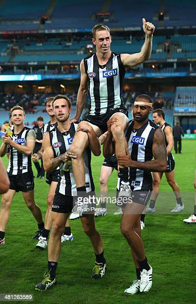 Nick Maxwell of the Magpies is chaired from the ground after the round two AFL match between the Sydney Swans and the Collingwood Magpies at ANZ...