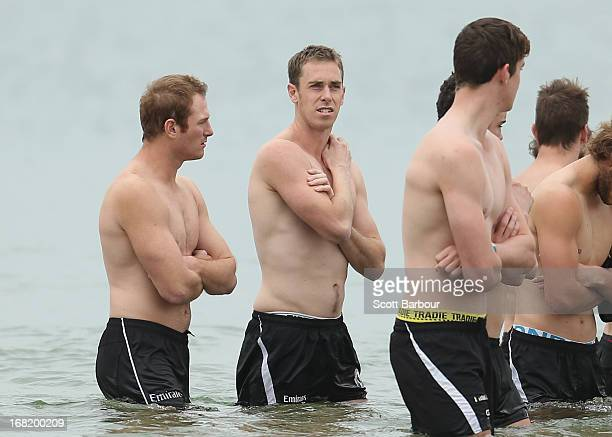 Nick Maxwell of the Magpies wades in the water during a Collingwood Magpies AFL recovery session at St Kilda Sea Baths on May 7 2013 in Melbourne...