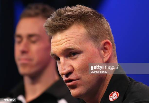 Nick Maxwell the captain of the Magpies and Nathan Buckley the coach of the Magpies speak to the media during a Collingwood Magpies AFL Finals Series...