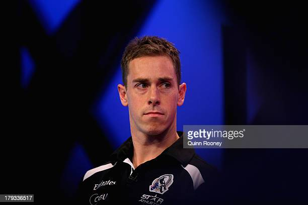 Nick Maxwell the captain of the Magpies speaks to the media during a Collingwood Magpies AFL Finals Series Launch Media Session at Fox Sports on...