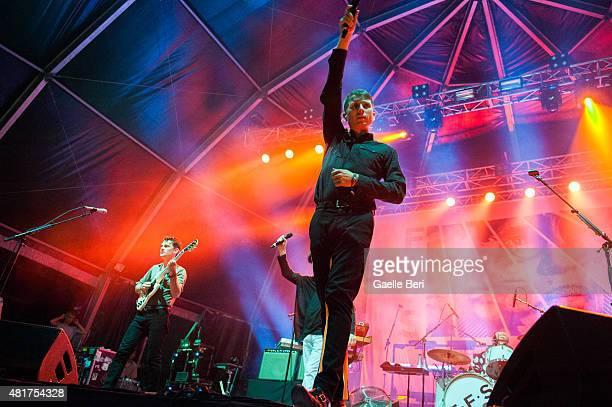 Nick McCarthy Russell Mael and Alex Kapranos of FFS perform live at FIB Benicassim Festival on July 19 2015 in Benicassim Spain