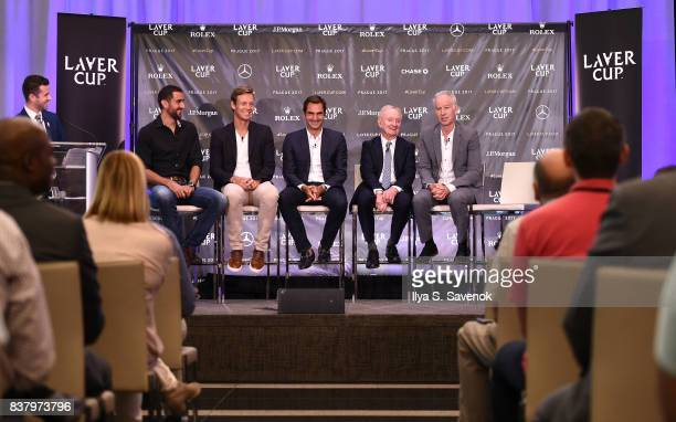 Nick McCarvel Marin Cilic Tomas Berdych Roger Federer Rod Laver and John McEnroe attend Laver Cup Team Announcement on August 23 2017 in New York City