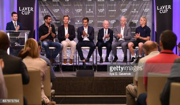 Nick McCarvel Marin Cilic Tomas Berdych Roger Federer Rod Laver John McEnroe and Denis Shapovalov attend Laver Cup Team Announcement on August 23...