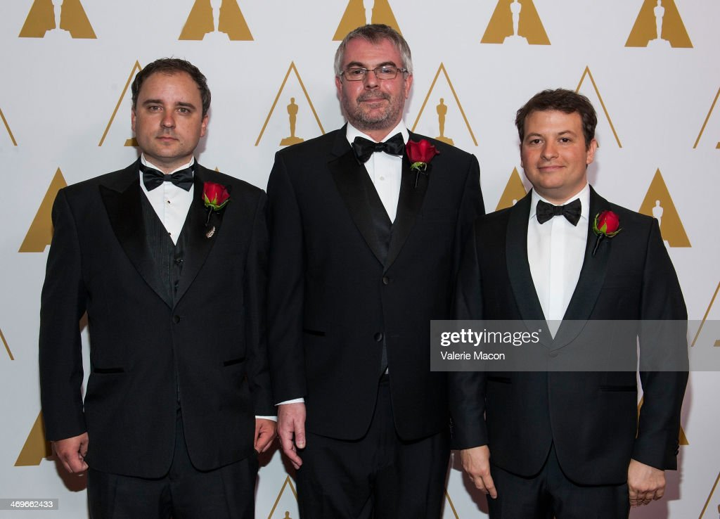 Nick McKenzie, Jon Allitt and Martin Hill arrive at the Academy Of Motion Picture Arts And Sciences' Scientific And Technical Awards Ceremony at Beverly Hills Hotel on February 15, 2014 in Beverly Hills, California.