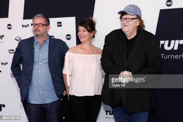 Nick McKinney Meghan O'Hara and Michael Moore attend the 2017 Turner Upfront at Madison Square Garden on May 17 2017 in New York City