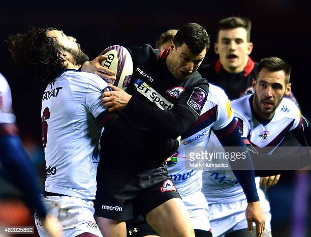 Nick McLennan of Edinburgh Rugby is tackled by Bertrand Guiry of BordeauxBegles during the European Rugby Challenge Cup Pool 4 match between...