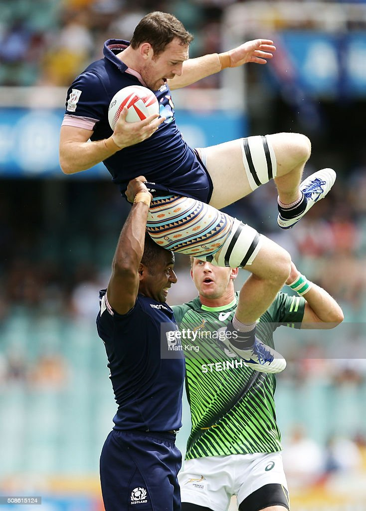 Nick McLennan of Scotland takes the ball at a restart during the 20146 Sydney Sevens match between South Africa and Scotland at Allianz Stadium on February 6, 2016 in Sydney, Australia.