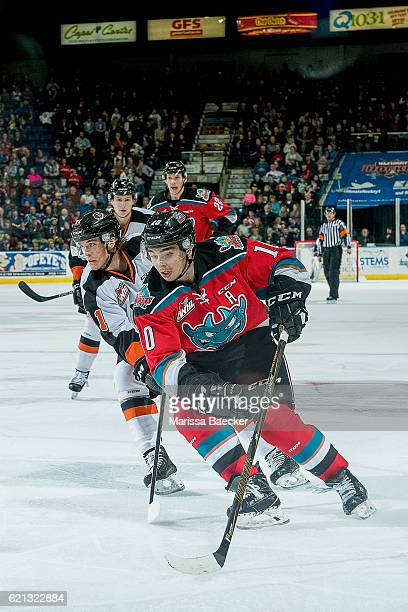 Nick Merkley of the Kelowna Rockets is back checked by the Medicine Hat Tigers during second period at Prospera Place on November 5 2016 in Kelowna...