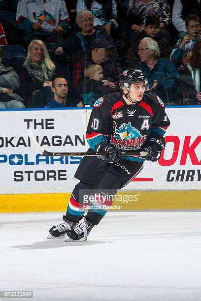 Nick Merkley of the Kelowna Rockets skates against the Prince Albert Raiders at Prospera Place on November 12 2016 in Kelowna Canada Nick Merkley
