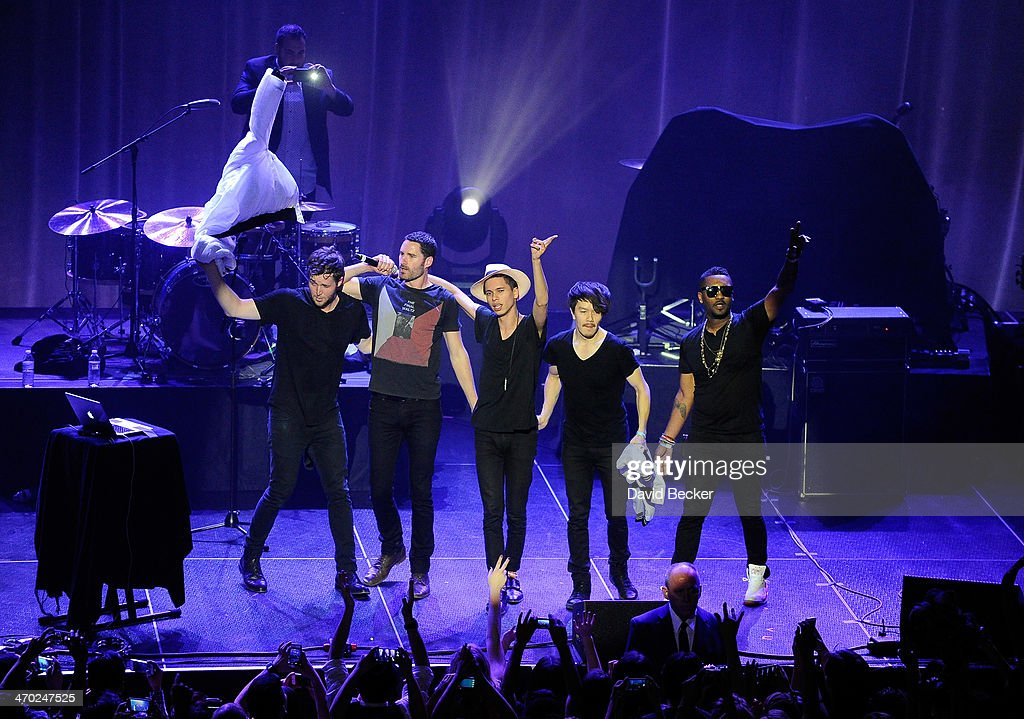 Nick Merwin, Ryan Merchant, Spencer Ludwig, Manny Quintero and Channing Cook Holmes of Capital Cities perform at The Chelsea at The Cosmopolitan of Las Vegas on February 18, 2014 in Las Vegas, Nevada.