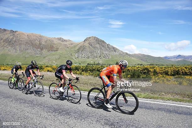 Nick Miller of Auckland Tim Rush of Oamaru Regan Gough of Waipukurau and Brendan Cole of Australia head towards Coronet Peak from Mossburn during...