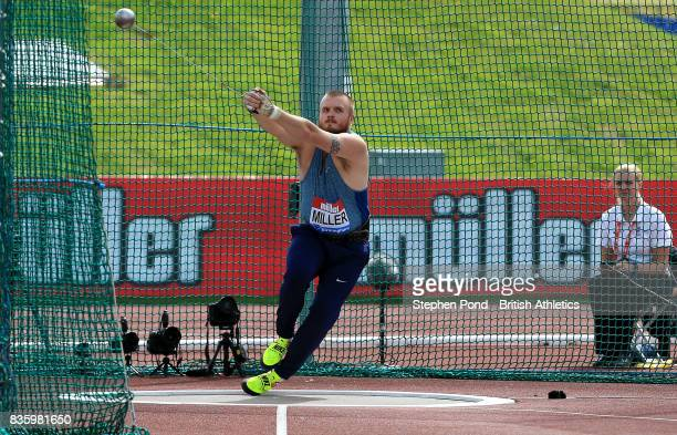 Nick Miller of Great Britain in the men's hammer throw during the Muller Grand Prix and IAAF Diamond League event at Alexander Stadium on August 20...