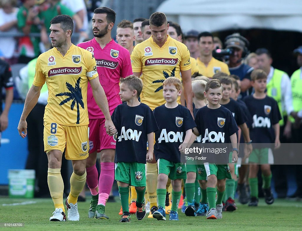 <a gi-track='captionPersonalityLinkClicked' href=/galleries/search?phrase=Nick+Montgomery&family=editorial&specificpeople=687409 ng-click='$event.stopPropagation()'>Nick Montgomery</a> leads the Mariners out onto the ground during the round 19 A-League match between the Central Coast Mariners and Adelaide United at Central Coast Stadium on February 14, 2016 in Gosford, Australia.